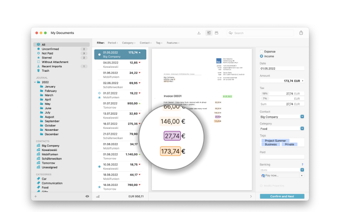 Receipts Mac App - Collects your documents